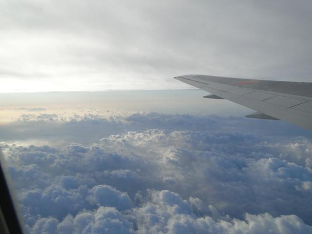機内からの景色 綿菓子みたいです!